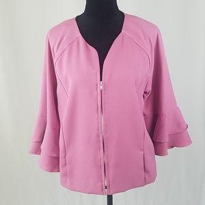 Bob Mackie women L crepe jacket ruffle 3/4 sleeve